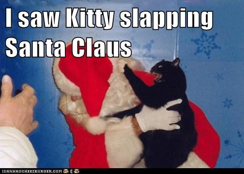 best of the week caption captioned cat christmas Hall of Fame lyrics parody santa santa claus slap slapping song
