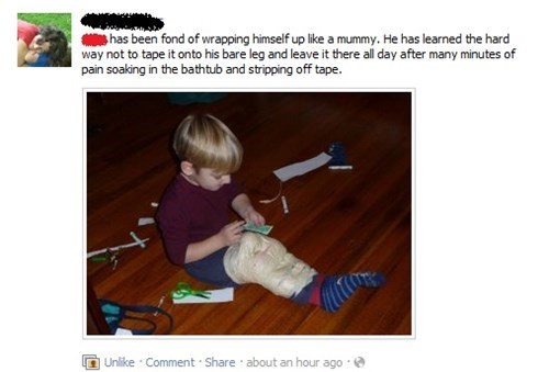 accident facebook mother Parenting Fail punishment sticky tape - 5577343488