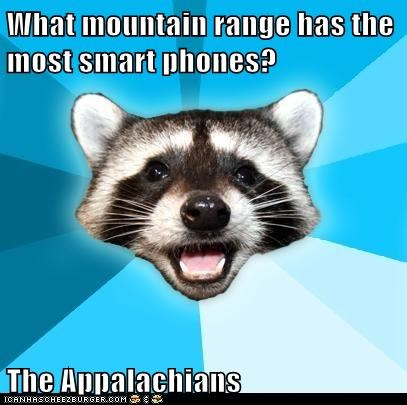 What mountain range has the most smart phones? The