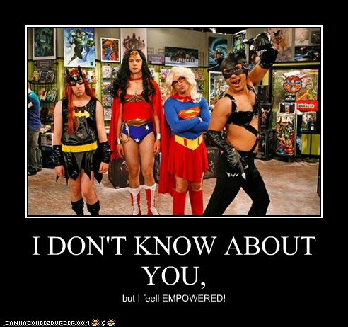 bat girl,big bang theory,big bang theory cast,cat woman,costume,roflrazzi,supergirl,wonder woman