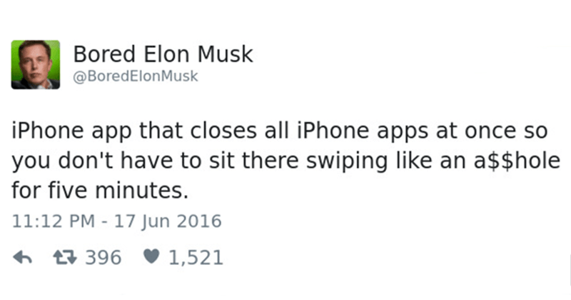 Funny tweets from bored elon musk twitter account.