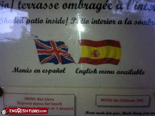 en espanol,flags,menu in english,wrong flag