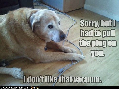 Sorry, but I had to pull the plug on you. I don't like that vacuum.