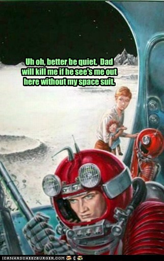 art,books,color,dad,funny,illustration,quiet,space suit