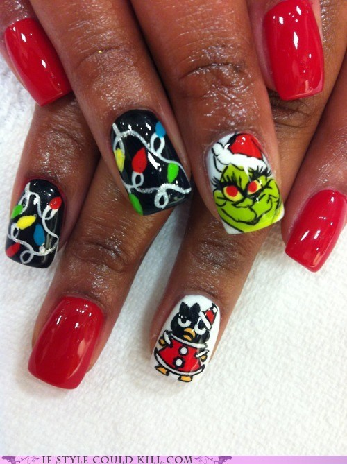 christmas,cool accessories,grinch,nail art,nails