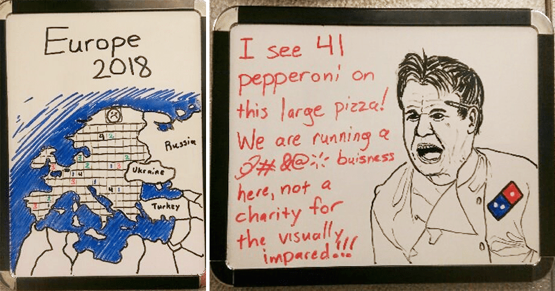 Funny hand drawn memes, dominos pizza, dominos pizza worker draws memes.