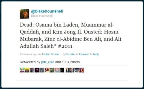Arab Spring,Kim Jong-Il,muammar gaddafi,OBL,tweet