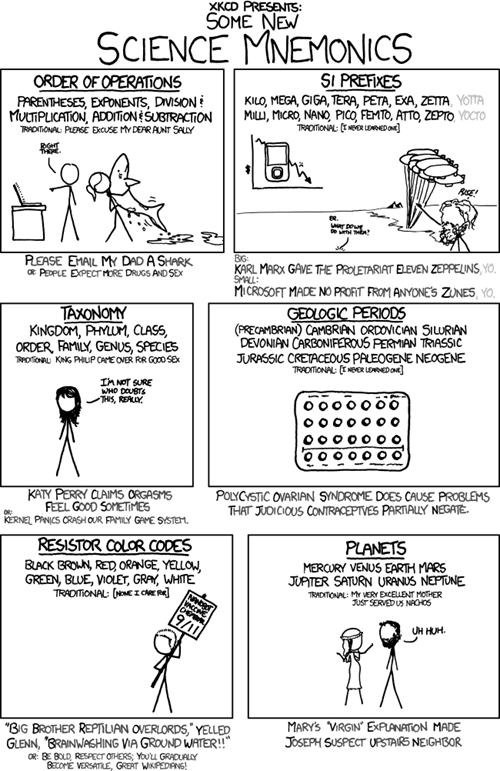 comics mnemonics webcomics xkcd - 5585063680