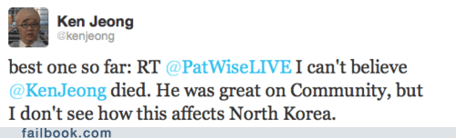 dead Death facepalm jokes ken jeong Kim Jong-Il lil kim news twitter - 5585703424