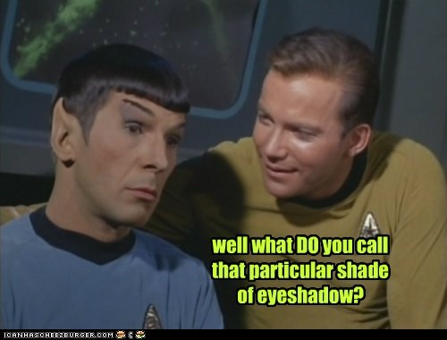 Captain Kirk,eye shadow,flirting,Leonard Nimoy,shade,Shatnerday,Spock,Star Trek,William Shatner