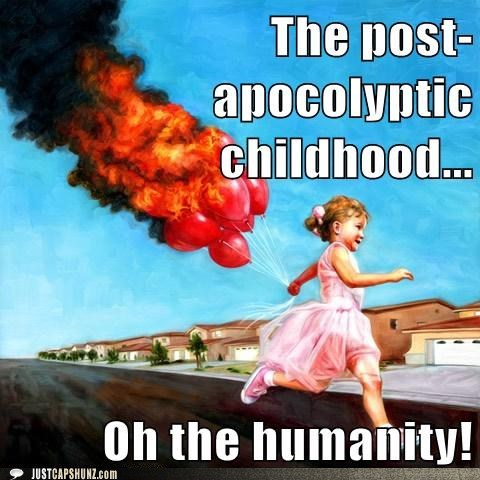 ballons,balloons on fire,caption contest,child,girl,kid,post apocalyptic