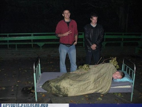 bed,drunk,friends,outside,passed out