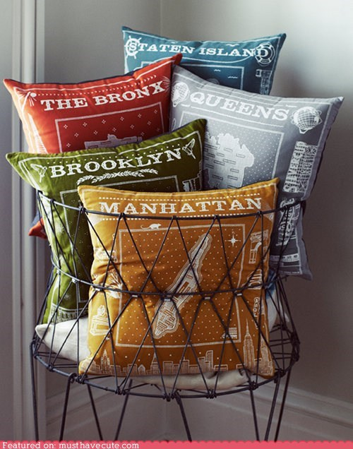 boroughs,decor,neighborhoods,new york city,pillows