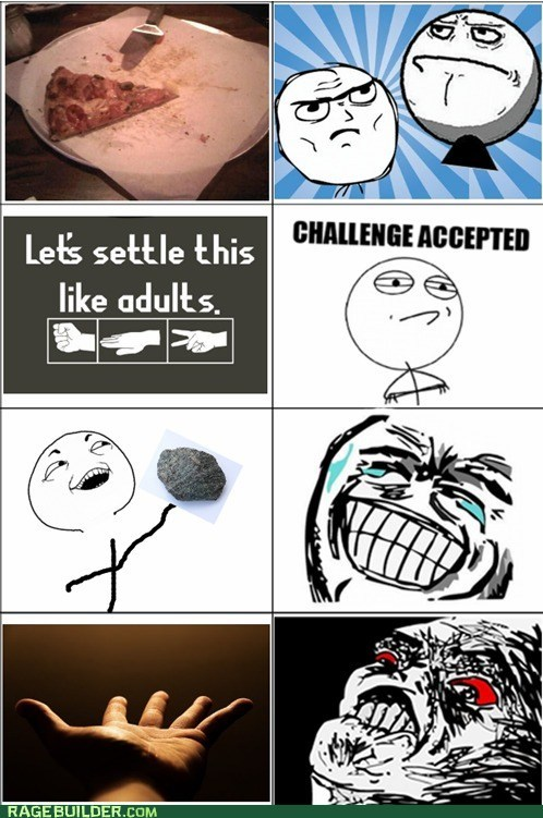 Challenge Accepted,pizza,Rage Comics,rock paper scissors