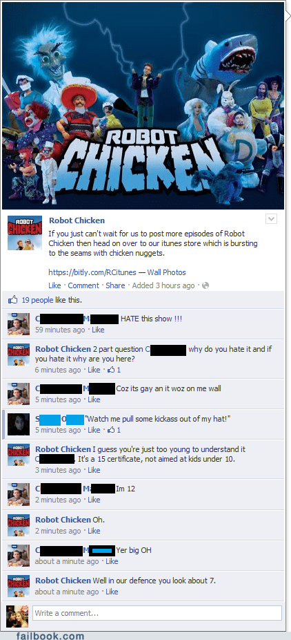 age,fan page,oh snap,profile pic,Robot Chicken,win