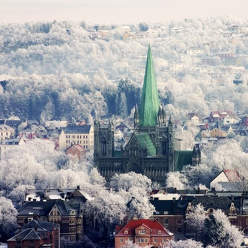 city,cityscape,europe,getaways,Hall of Fame,Norway,scandinavia,snow,trondheim,white,winter