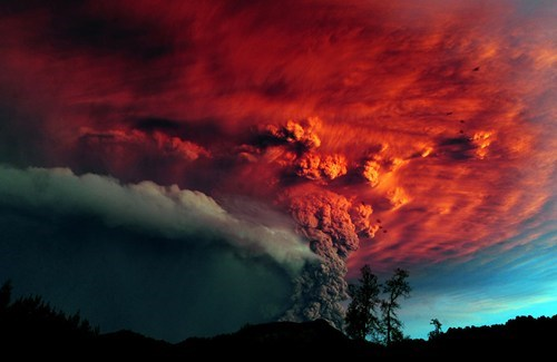 ash,ash cloud,Chile,getaways,gray,grey,natural disaster,red,south america,volcano