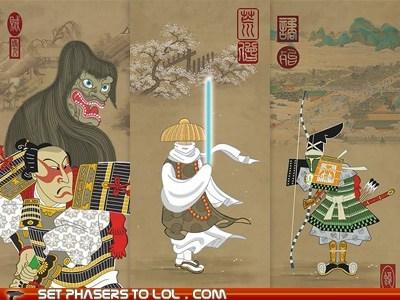 art Chewie Han Solo jabba the hutt japanese Jedi lightsaber samurai star wars - 5587425024