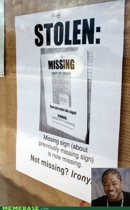 irony,lost,poster,stolen,yo dawg