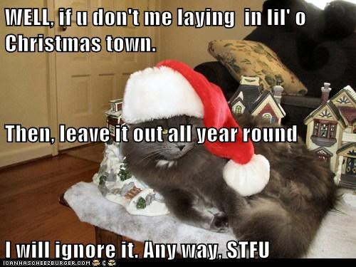 WELL, if u don't me laying  in lil' o Christmas town. Then, leave it out all year round I will ignore it. Any way, STFU