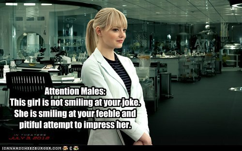 attention,emma stone,girl,joke,males,qwen stacy,smiling,Spider-Man