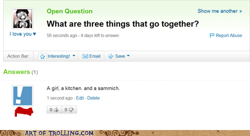 kitchen,sandwich,women,Yahoo Answer Fails