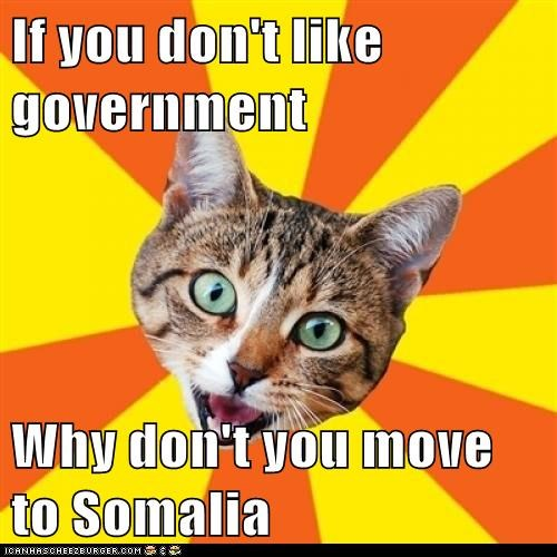 If you don't like government Why don't you move to Somalia