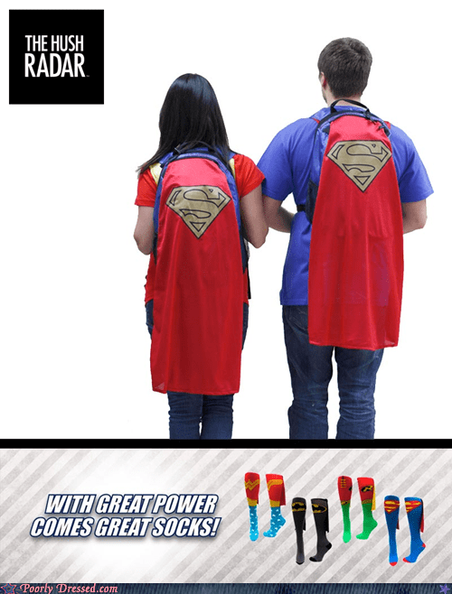 backpacks,capes,socks,superhero clothes,superman backpack