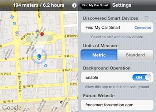 apps,bluetooth,car finder,find my car smart,iphone,kickass kickstarter,Tech