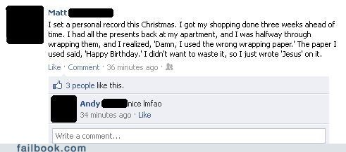 birthday christmas facebook failbook g rated save social media win wrapping paper