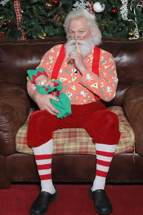baby creepy mall santa sleeping - 5590548224