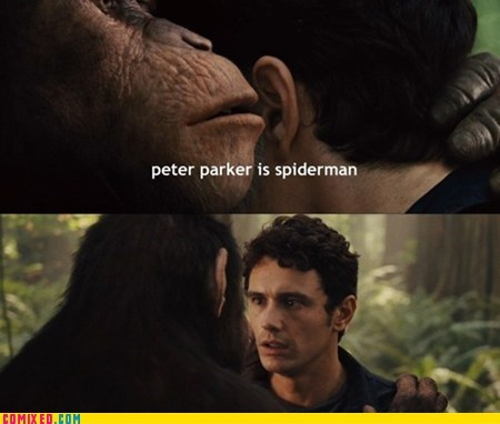 From the Movies James Franco Memes peter parker Planet of the Apes remake Spider-Man - 5590596608