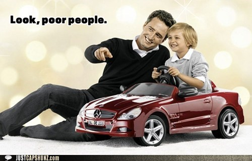 car,child,kid,mercedes,mercedes benz,poor people,rich people,toy car