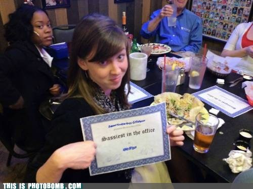 awesome,dinner times,office humor,sassy,wonder-what-award-she-got,yeah right