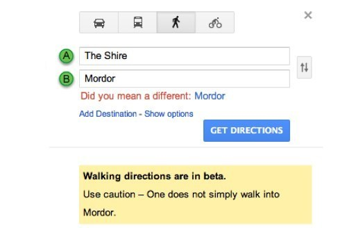 google maps,Lord of the Rings,movies,one does not simply walk into mordor,Tech,walking directions