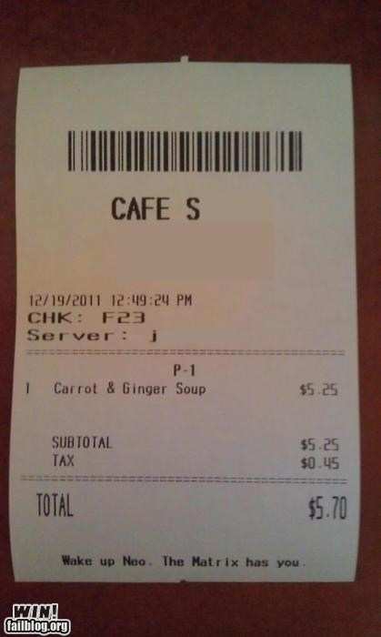 Hall of Fame message note receipt restaurant the matrix wake up - 5591491072