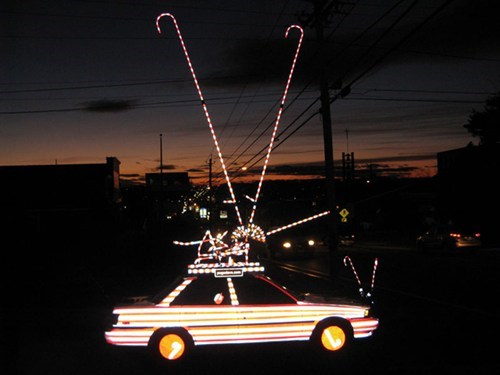 candy cane,car,christmas lights,crazy,decorations