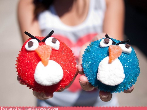 angry birds candy cupcakes epicute marshmallow sparkly sprinkles sugar - 5591705088