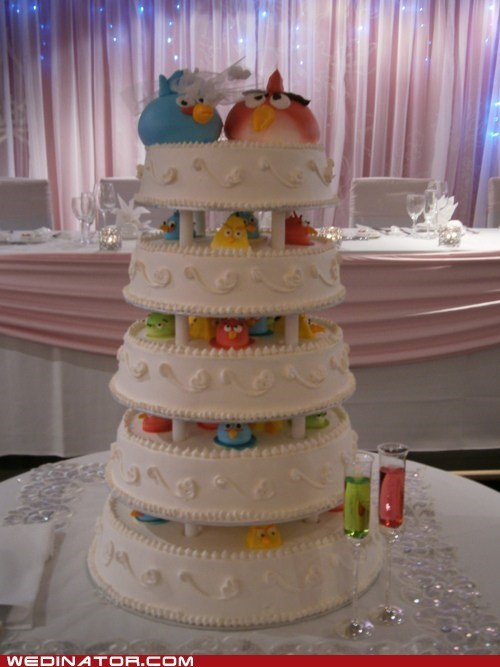 angry birds,funny wedding photos,wedding cake