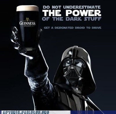 beer dark side darth vader guinness pbr star wars