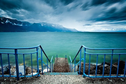 clouds europe getaways horizon lake lake Geneva stairs Switzerland water - 5592085504