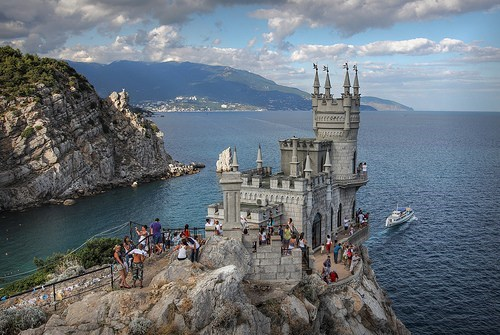 archtecture black sea europe getaways swallows nest ukraine water - 5592126464