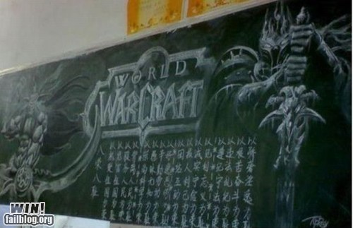 art,blackboard,chalk,nerdgasm,video games,world of warcraft