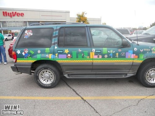 art,car,decal,g rated,logo,mario,nerdgasm,nintendo,Super Mario bros,win