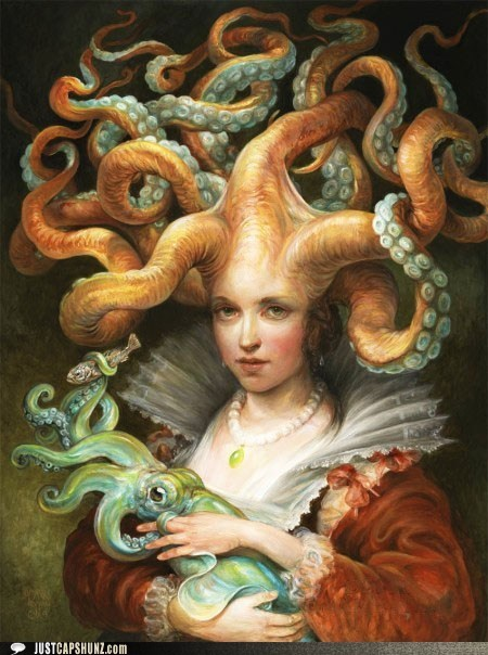 baby,caption contest,child,mother,mother of the sea,squid,tentacles