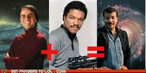 carl sagan,equals,Lando Calrissian,math,Neil deGrasse Tyson,plus,star wars