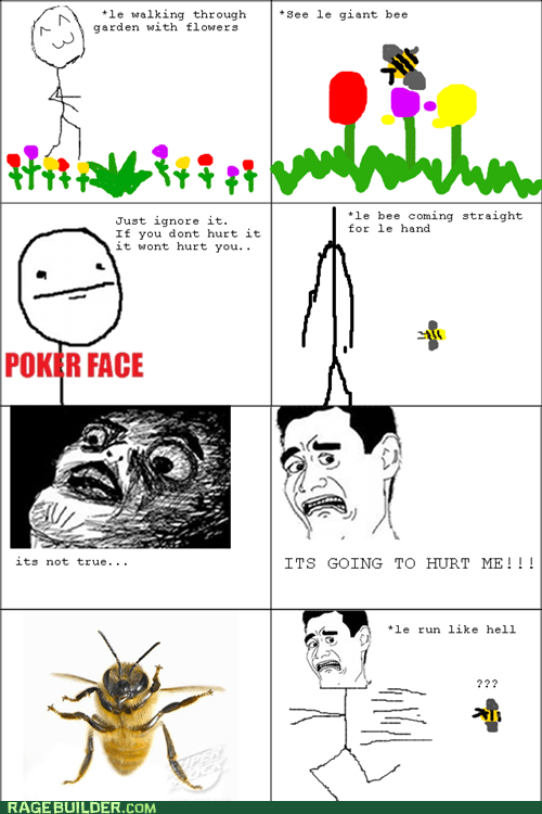 bees,poker face,Rage Comics,sorry bees,that was a lie