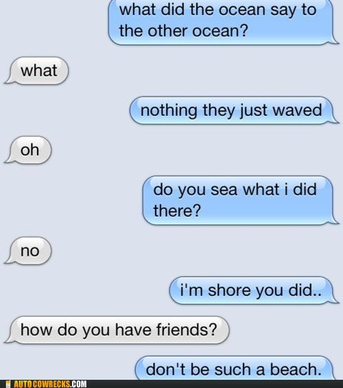 AutocoWrecks beach friends g rated Hall of Fame joke jokes mobile phones ocean puns sea shore texting wave - 5593181952