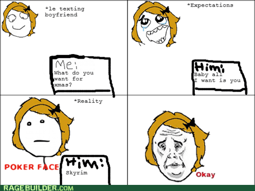 christmas,Okay,poker face,Rage Comics,Skyrim,video games