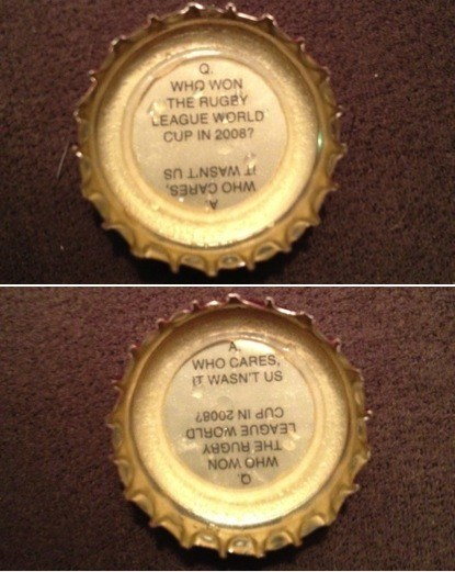 alcohol,beer,bottle cap,fact,g rated,rugby,sports,true facts,win